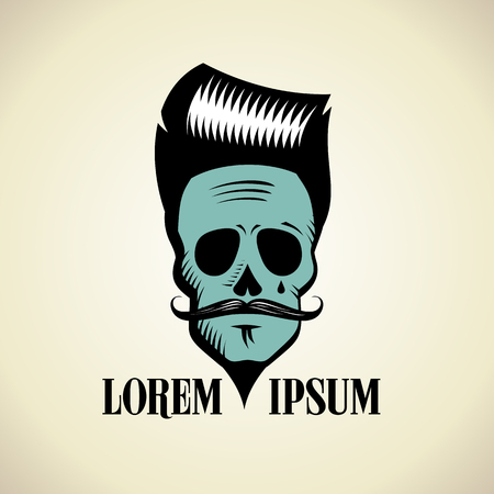 Graphic fashionable skull with hipster hairstyle and mustache, art . Illustration