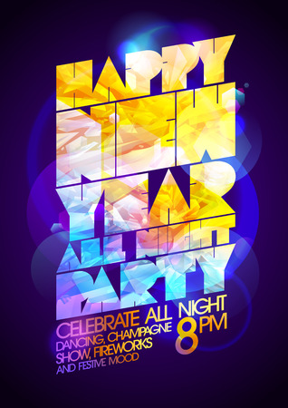 night art: Happy new year all night party art calligraphic design, 80s disco style. Illustration