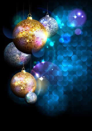 new year party: Blue polygon background with fur tree golden and silver mosaic balls with place for text.