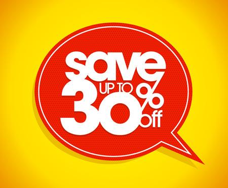 Sparen Sie bis zu 30 Prozent ab, Verkauf Sprechblase Coupon.