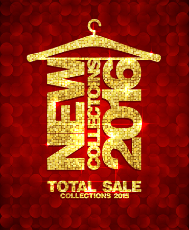 total: New collections 2016 fashion banner, total sale collections 2015, golden mosaic text hang on a hanger against dark red mosaic backdrop.