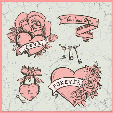hearts and roses: Old school graphic set with hearts, roses and  ribbons, Valentine day symbols illustration against vintage cracked backdrop.
