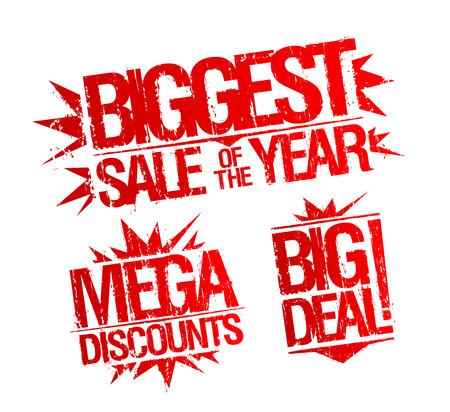 Mayor venta de la marca de año, sello descuentos mega, grande sello de acuerdo. Sellos de la venta conjunto de vectores.