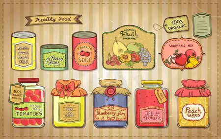 canned goods: Hand drawn vintage style illustration with canned goods set and tags on a paper. Tomato soup, blueberry jam, peach slices, tomatoes, sweet corn, fruit preserve, baked beans, wild honey.
