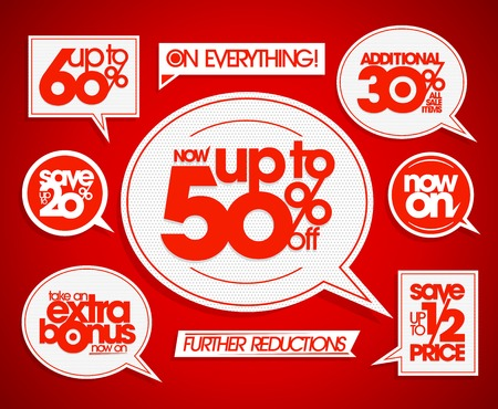 further: Set of the sale coupons, banners, signs or tags, speech bubbles forms and ribbons. Take an extra bonus, save up to, further reductions, now on.