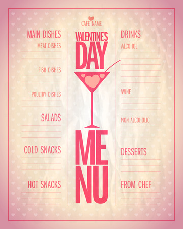 sheet menu: Light Valentine day menu list with place for dishes and drinks name.