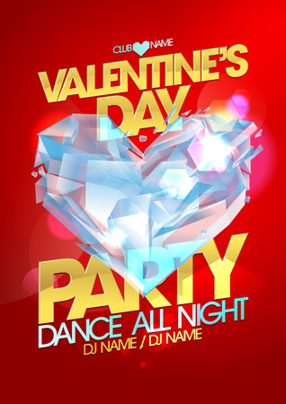 crystal heart: Valentine day party poster with crystal heart.