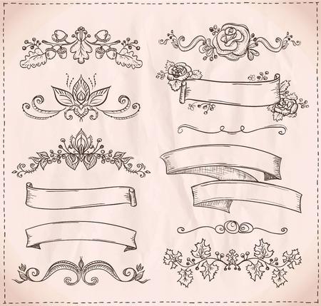 Hand getekende grafische lijn elementen voor scrabooking, liefde en huwelijk thema, vintage stijl linten, bloemen bossen en verdelers.