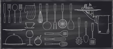 drainer: Set of kitchen utensils and tableware on a chalkboard background