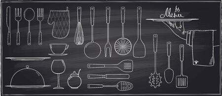 Zestaw naczynia kuchenne i stołowe na tablicy tle