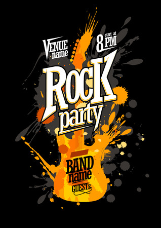 grunge music background: Rock party poster design with electro guitar made from blots