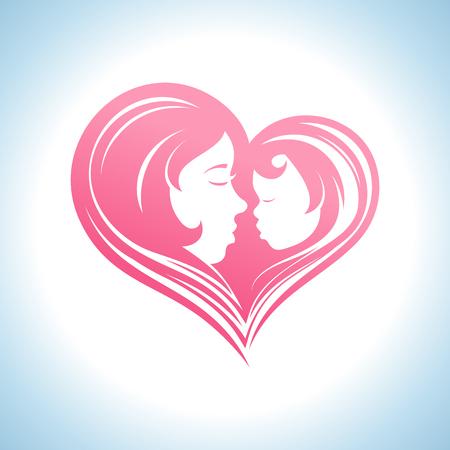 Moeder en kind hartvormige silhouet in een profiel, logo template.