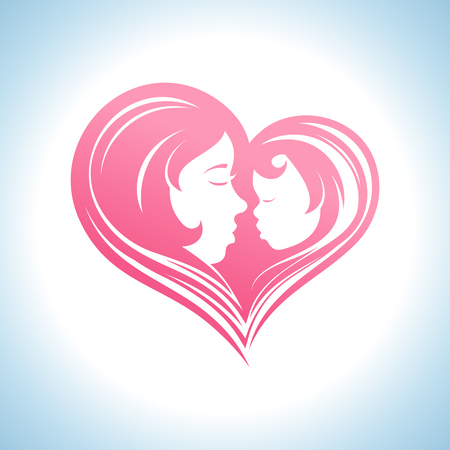 mother day: Mother and child heart-shaped silhouette in a profile, logo template.