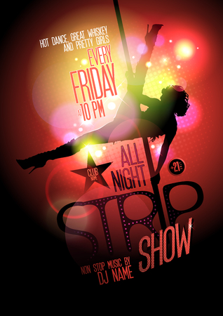 sexy woman disco: All night strip show hot poster, slim stripper woman silhouette on a pole.
