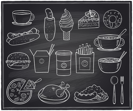 thai noodle: Hand drawn assorted food and drinks graphic symbols on a chalkboard.