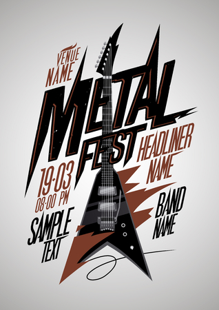 electro: Retro style metal fest poster design with v style electro guitar and place for text