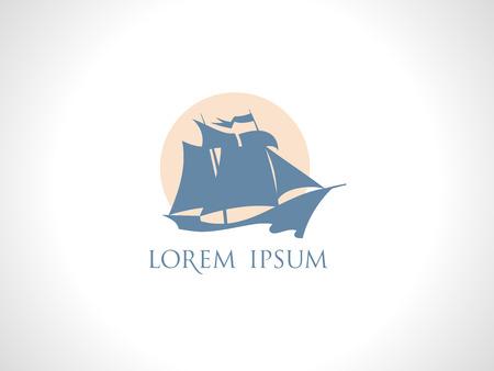 sailing: Retro sailing ship against sun logo design Illustration