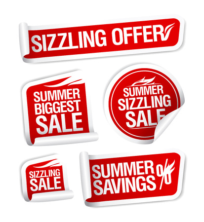 sizzling: Sale and savings stickers set, Summer sizzling offers.