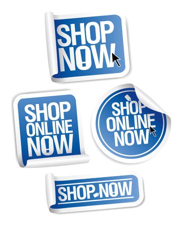 Online store stickers set Shop now.