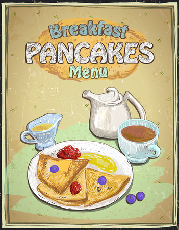 menu card design: Hand drawn breakfast menu with pancakes, berries, cup of tea and honey on a vintage backdrop