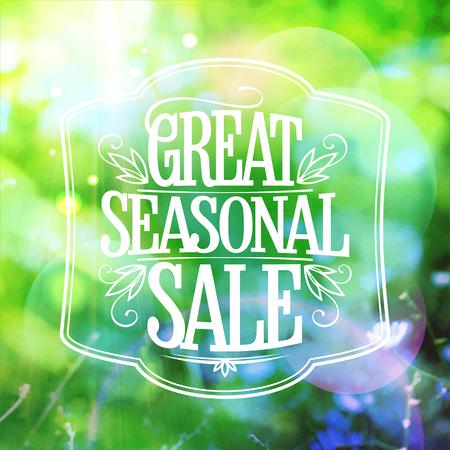 seasonal: Great seasonal sale text design with green summer meadow backdrop.