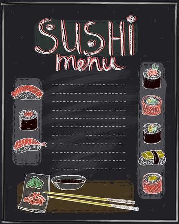 bowls: Chalk sushi menu list design on a blackboard
