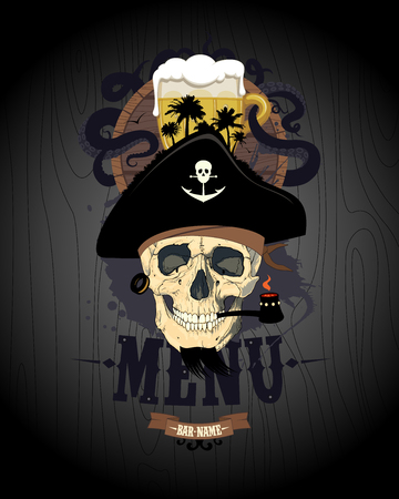Retro style bar menu design with pirate skull, glass of beer and rum barrel Illustration