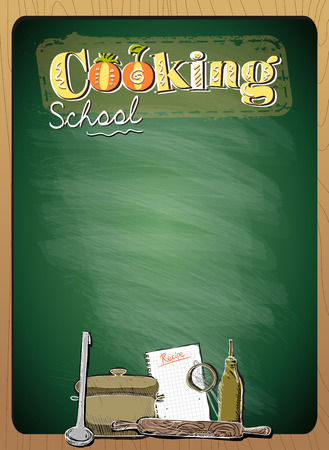 cartoon banner: Cooking school menu list with place for text against green chalkboard in wooden frame