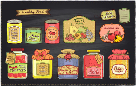 Hand drawn retro style illustration with canned goods set and tags on a chalkboard backdrop. Tomato soup, blueberry jam, peach slices, tomatoes, sweet corn, fruit preserve, baked beans, wild honey Illustration