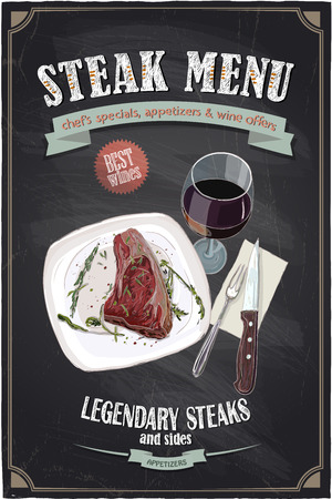 Steak menu chalkboard design with hand drawn illustration of a fillet mignon steak on a plate with glass of wine and cutlery Vectores