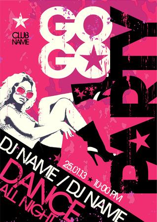 gogo girl: Go-go-Party-Design-Vorlage mit der Mode Mädchen und Platz für Text. Illustration