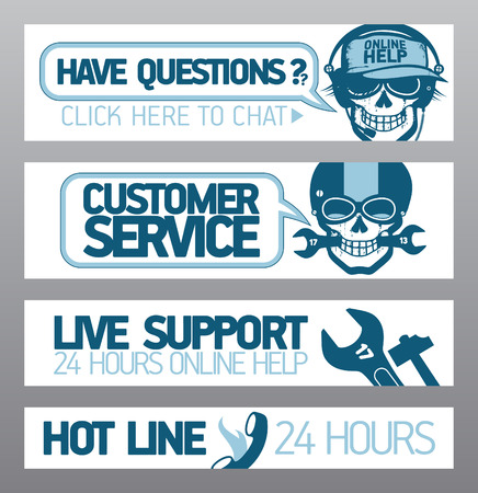customer support: Customer service live support banners