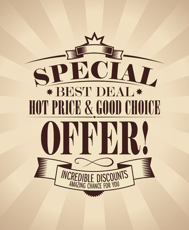 sertificate: Special offer design template in retro style. Illustration