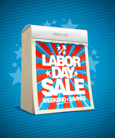 Labor day sale, weekend savings design in form of tear-off calendar. Eps10