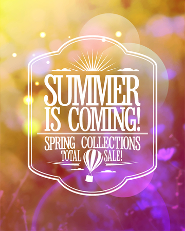 adverts: Fashion banner - summer is coming, spring collections total sale Illustration