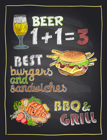 grilled salmon: Chalkboard hand drawn menu sign with beer, burger and grilled salmon fish Illustration