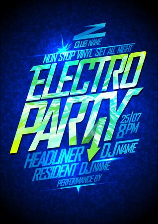 neon party: Electro party neon poster design