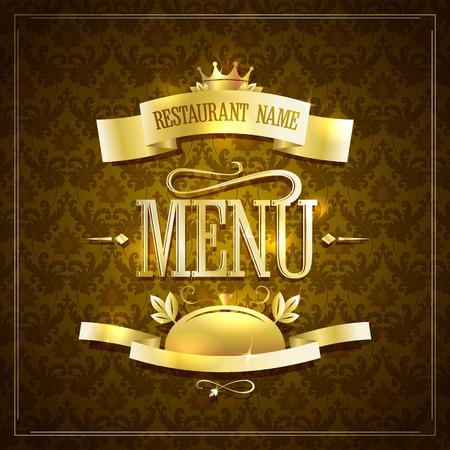 Design del menu ristorante stile vintage con nastri dorati contro sfondo marrone damascato