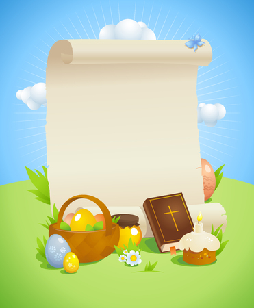 spring roll: Easter design with empty paper roll against spring  landscape with bible, basket and colored eggs, pastry, honey and flowers