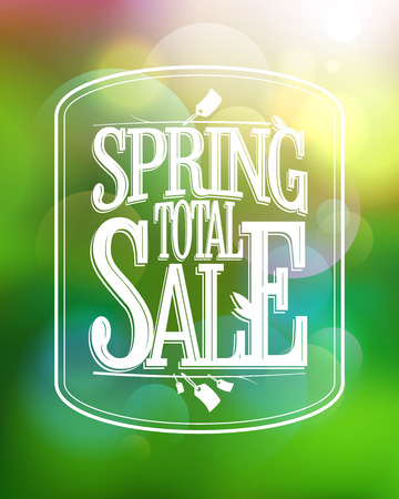 total: Spring total sale calligraphic poster against green bokeh backdrop