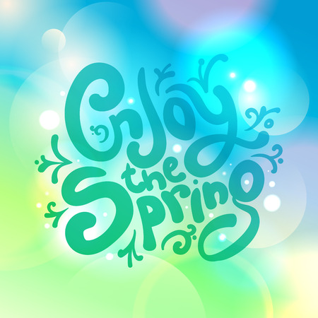 happyness: Enjoy the spring bokeh quote card Illustration
