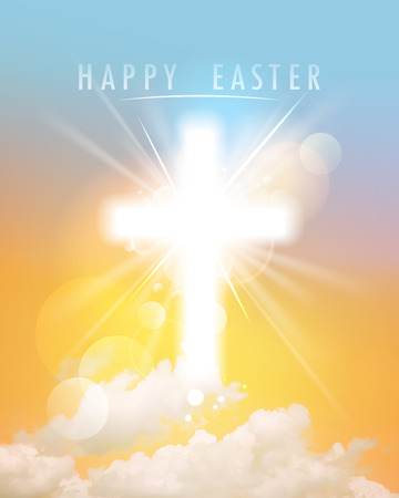 Abstract happy Easter background with shining cross, sky and clouds, close up