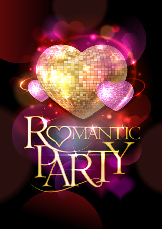 headline: Romantic party poster, golden headline text and pink mosaic hearts, bokeh hearts backdrop