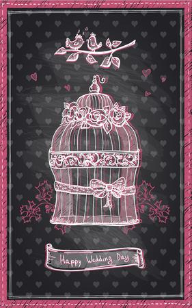 anniversario matrimonio: matrimonio felice disegno giorno lavagna, disegnata a mano carino invito grafica