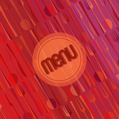 bill board: Square restaurant menu card red design template wth spoon and fork vintage backdrop, mock up Illustration