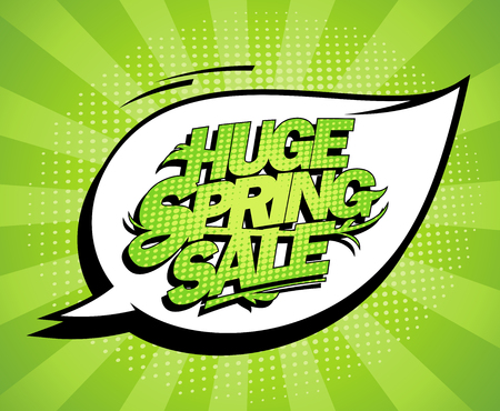discounts: Huge spring sale design, fresh green advertising banner, comic style