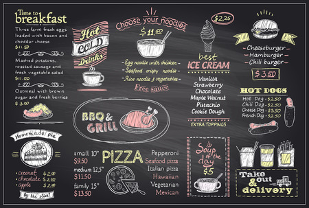 Chalk menu list blackboard design for cafe or restaurant, breakfast and lunch, fast-food and pizza, grill menu, drinks,  mock up Ilustração