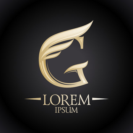 Expensive golden G letter icon with wing