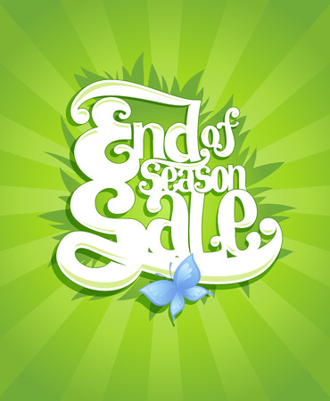 end of summer: End season sale calligraphy design, suitable for spring and summer clearance coupon or banner, eco organic style