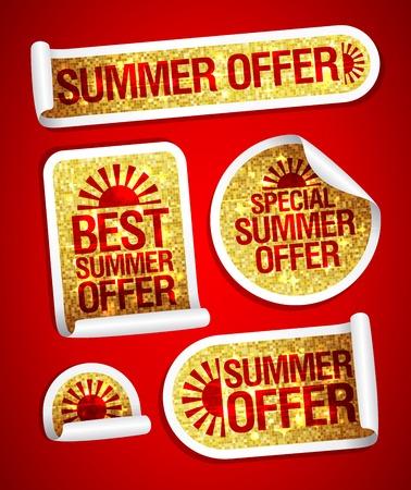 fashion set: Best summer offers golden fashion stickers set Illustration